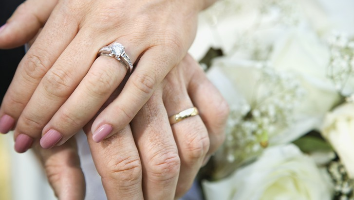 Close-up of bride and grooms hands overlapping.